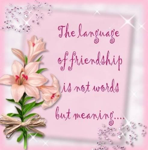 The language of friendship is not words but meaning