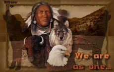 native american man we are as one wolf eagle