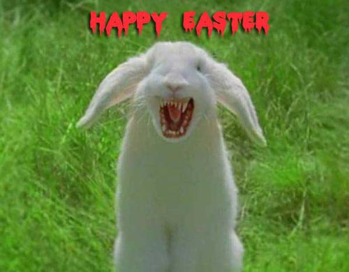 happy easter angry bunny rabbit