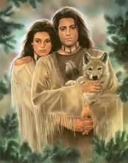 native americans with wolf
