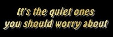 its the quiet ones you should worry about