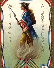 4th Of July soldier vintage postcard