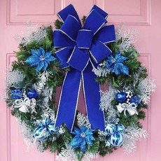 wreath with blue bow