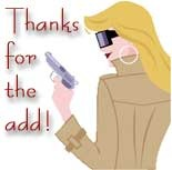 thanks for the add woman with a gun